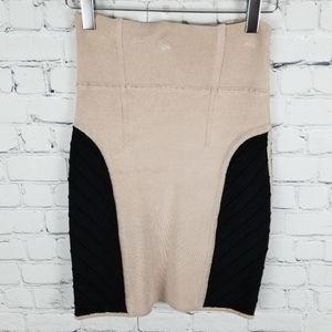 WILFRED | beige&black bandage bodycon skirt